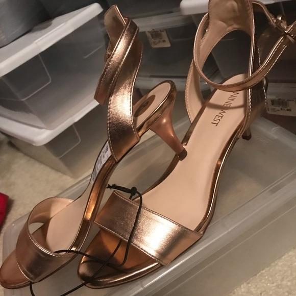 Rose Gold Kitten Heel Dress Sandals